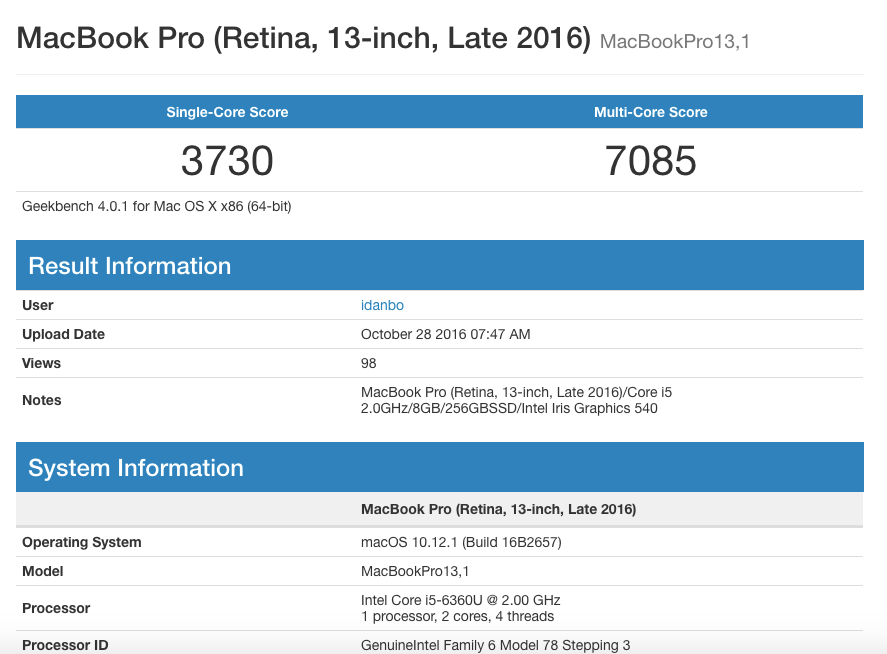 macbook pro late 2016 geekbench. Black Bedroom Furniture Sets. Home Design Ideas